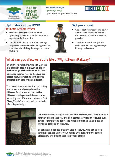 Click to view Resource 101211 Use of textiles - upholstery and design at the Isle of Wight Steam Railway