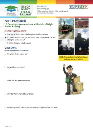 Click to view Resource 101011 10 Questions you must ask at the Isle of Wight Steam Railway