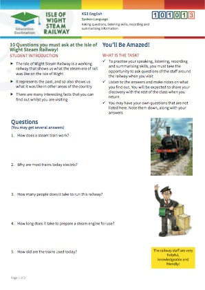 Click to view Resource 101013 10 Questions you must ask at the Isle of Wight Steam Railway