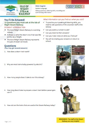 Click to view Resource 101023 10 Questions you must ask at the Isle of Wight Steam Railway