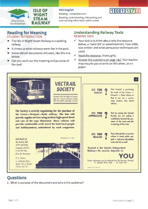 Click to view Resource 101172 Understanding Railway Texts - Reading for Meaning
