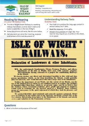 Click to view Resource 101173 Understanding Railway Texts - Reading for Meaning