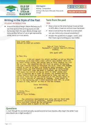Click to view Resource 101103 Writing in the Style of the Past / How Words Change