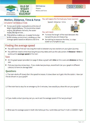 Click to view Resource 101061 Motion, Distance, Time and Force