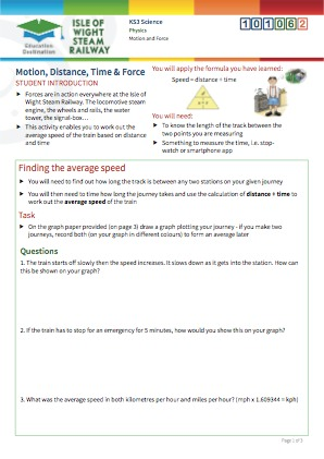 Click to view Resource 101062 Motion, Distance, Time and Force