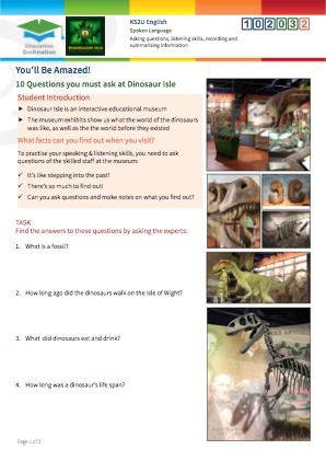 Click to view Resource 102032 10 Questions you must ask at Dinosaur Isle Museum