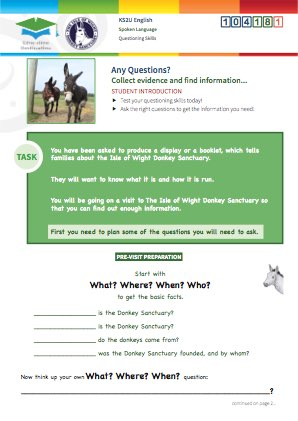 Click to view Resource 104181 Any Questions? Using questioning skills at the Donkey Sanctuary.
