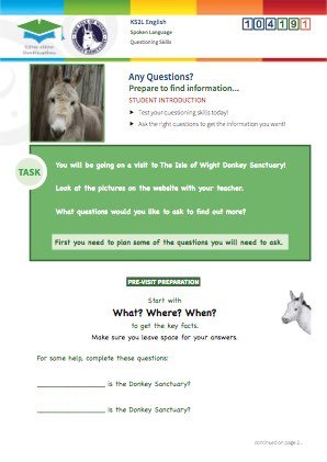 Click to view Resource 104191 Any Questions? Using questioning skills at the Donkey Sanctuary.