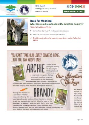 Click to view Resource 104092 Read for Meaning! Adoption donkeys