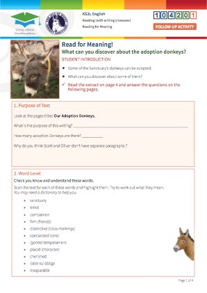 Click to view Resource 104201 Reading for Meaning - Donkey Tales!