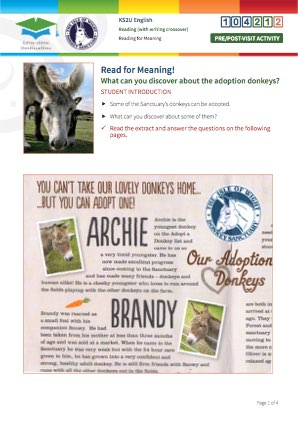 Click to view Resource 104212 Read for Meaning! Adoption donkeys (support version)