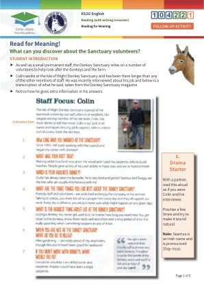 Click to view Resource 104221 Read for Meaning! Sanctuary Volunteers