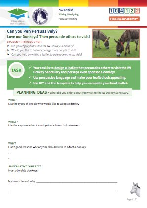 Click to view Resource 104122 Design a persuasive Adopt a Donkey Charity Leaflet