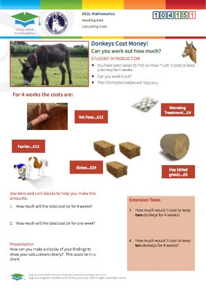 Click to view Resource 104151 Calculating Costs at the Isle of Wight Donkey Sanctuary