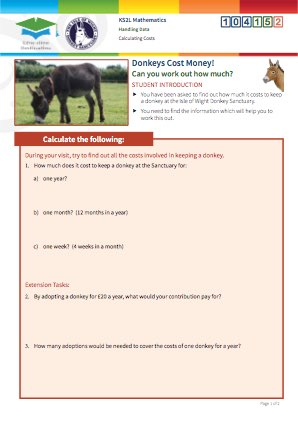 Click to view Resource 104152 Calculating Costs at the Isle of Wight Donkey Sanctuary