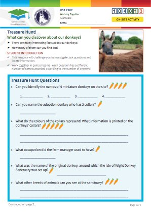 Click to view Resource 104013 Donkey Sanctuary Treasure Hunt!