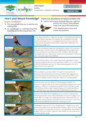 Click to view Resource 105004 How's your Nature Knowledge?  Reading for Information.