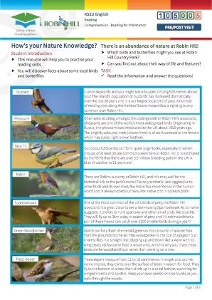 Click to view Resource 105005 How's your Nature Knowledge?  Reading for Information.