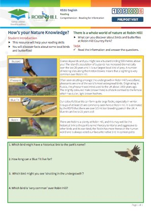 Click to view Resource 105006 How's your Nature Knowledge?  Reading for Information.