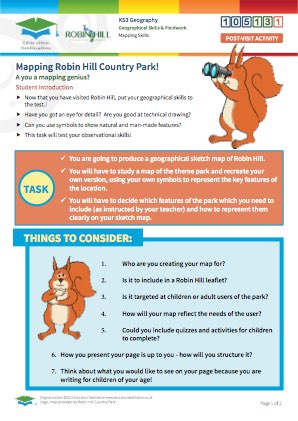 Click to view Resource 105131 Geographical Park Sketch: Mapping Robin Hill Country Park!