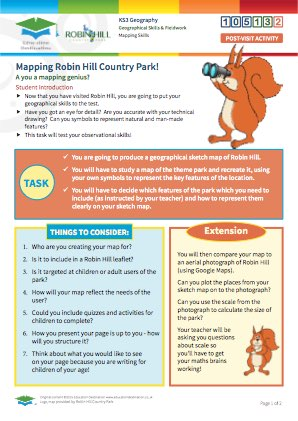 Click to view Resource 105132 Geographical Park Sketch: Mapping Robin Hill Country Park!