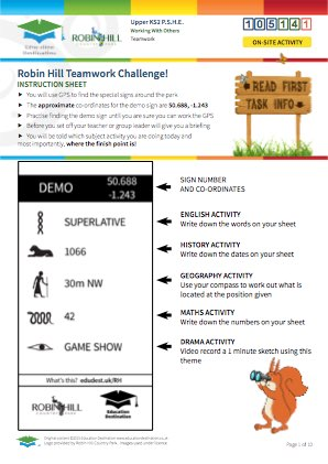 Click to view Resource 105141 Robin Hill Teamwork Challenge! (Multi-Subject)