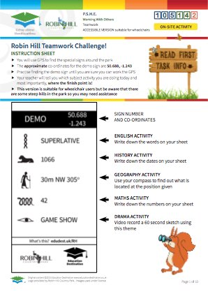Click to view Resource 105142 Robin Hill Accessible  Teamwork Challenge! (Multi-Subject)