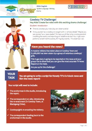 Click to view Resource 106321 Cowboy TV Challenge! Creating and sustaining roles at Cowboy Town!