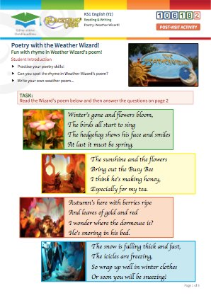 Click to view Resource 106182 Weather Wizard: Create your own weather-based poem!