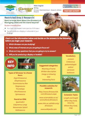 Click to view Resource 106171 Dinosaur: Restricted Area 5 - Research, write and present!