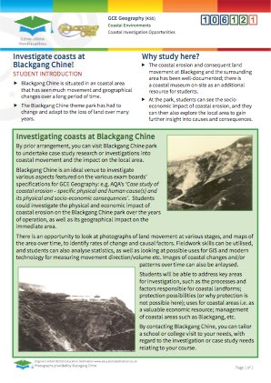 Click to view Resource 106121 Blackgang: A Coastal Investigation Opportunity