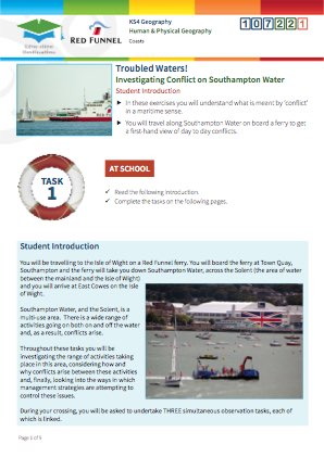 Click to view Resource 107221 Troubled Waters! Investigating conflict on Southampton Water