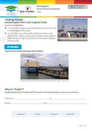 Click to view Resource 107271 Trading Places! Southampton Port's role in global trade.