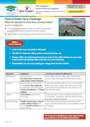 Click to view Resource 107122 Feature Finder Ferry Challenge! Using basic geographical vocabulary to refer to features.