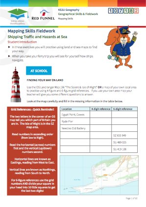 Click to view Resource 107182 Mapping Skills Fieldwork: Shipping Traffic & Hazards at Sea