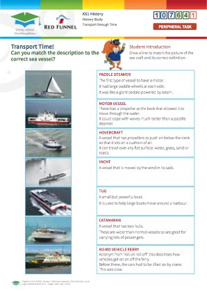 Click to view Resource 107641 Transport Time! Match the definition to the sea vessel...
