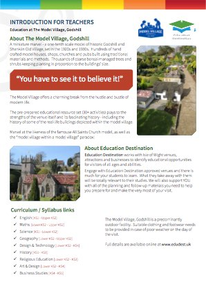 Parents overview for The Model Village, Godshill
