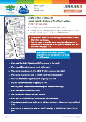 Click to view Resource 109142 Researchers Required! Discovering The Model Village, Godshill