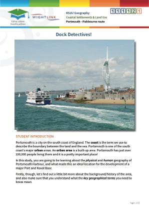 Click to view Resource 111121 Dock Detectives! Coastal Settlements and Land Use (Portsmouth - Fishbourne route)