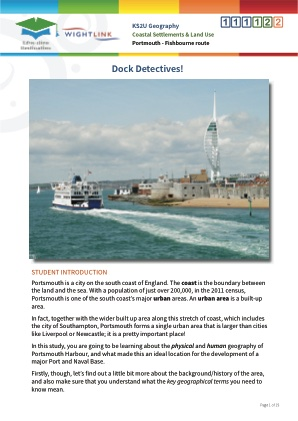 Click to view Resource 111122 Dock Detectives! Coastal Settlements and Land Use (Portsmouth - Fishbourne route)