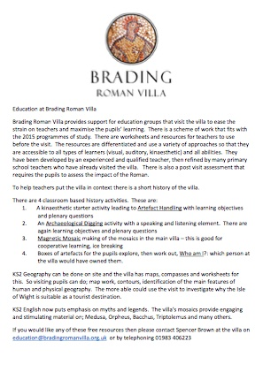 School Trips To Brading Roman Villa With Quality Teaching Resources