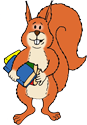 ED the Squirrel carrying all his relevant paperwork for his Isle of Wight school trip