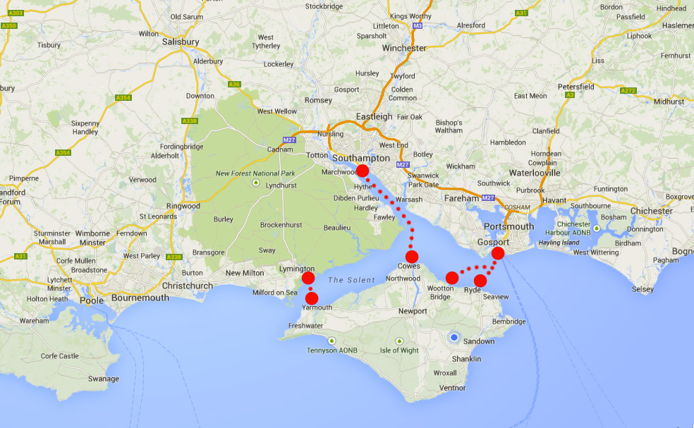 Ferry routes to the Isle of Wight