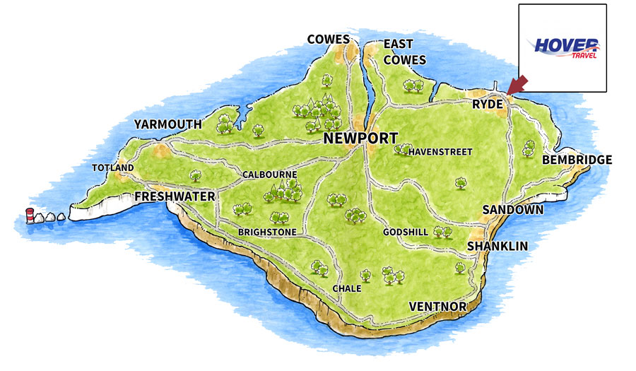 Location map for Hovertravel Ltd